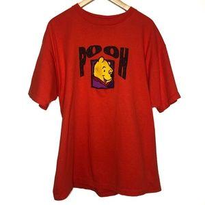 Vintage 90s Rare Disney Embroidered Pooh Shirt XL